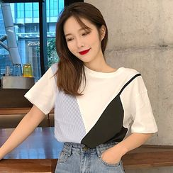 WIKPROM - Mock Two-Piece Short-Sleeve T-Shirt