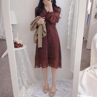 Yunhouse - 长袖碎花A字连衣中裙