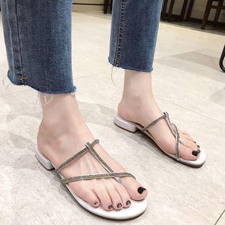 Red Wolf - Rhinestone Toe Loop Sandals