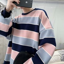 Naideth - Couple Matching Striped Sweatshirt