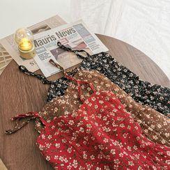 Miss Puff - Floral Print Chiffon Spaghetti Strap Dress