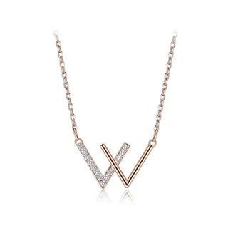 BELEC - 925纯银镀玫瑰金时尚简约英文字母W项链配锆石