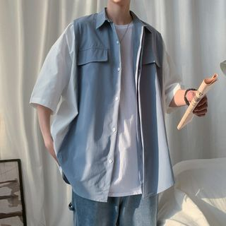 Sillis - Short-Sleeve Plain Mock Two Piece T-Shirt