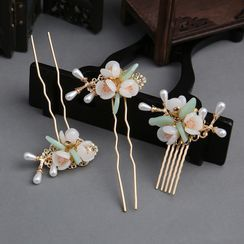 Tangier - Retro Faux Crystal Flower Hair Stick / Set