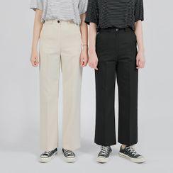 HOTPING - Semi Wide-Leg Dress Pants (Petite/Tall)