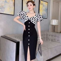 Paila - Dotted Panel Puff-Sleeve Slit Midi Sheath Dress