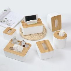 Foresty - Bamboo Cover Plastic Tissue Box / Desk Organizer