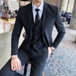 Bay Go Mall - Set: Striped Blazer + Vest + Dress Pants