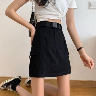 Miss Bearie - Set: Mini A-Line Cargo Skirt + Belt