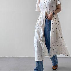MERONGSHOP - Button-Up Shirred Floral Long Dress