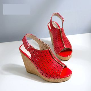 Cinnabelle - Perforated Peep-Toe Wedge-Heel Slingback Sandals