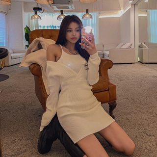LIPHOP - Long-Sleeve Mock Two-Piece Cold-Shoulder Knit Dress