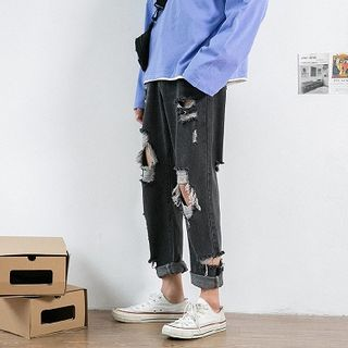 Avilion - Distressed Cropped Straight-Fit Jeans