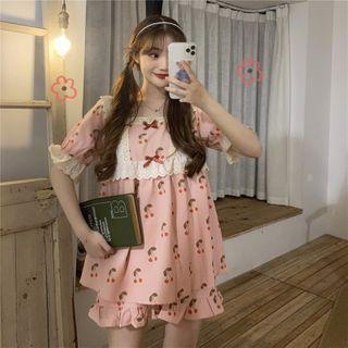 YOOKIE - Square-Neck Cherry Print Pajama Set