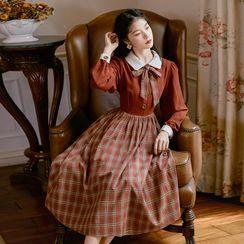 Glaypio - 长袖蝴蝶结格纹A字连衣中裙