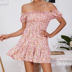 Diamontina - Off Shoulder Ruffle-Trim Floral Print A-Line Dress