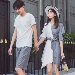 Azure - Couple Matching Short-Sleeve T-Shirt / Shorts / Elbow-Sleeve Asymmetric Striped Paneled A-Line Dress / Set