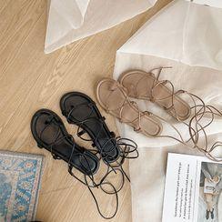 时尚麦乐 - 系带平底罗马凉鞋