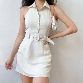 Sinora - Vintage Collared Open-Back Sleeveless Dress