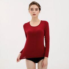 Siftlape(シフトラペ) - Long-Sleeve Inset Bra-Pad Plain T-Shirt