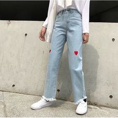 CosmoCorner - Heart Embroidery Straight-Fit Jeans