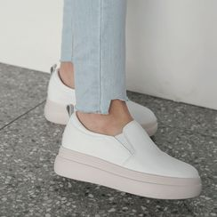CLICK(クリック) - Platform Genuine Leather Slip-Ons