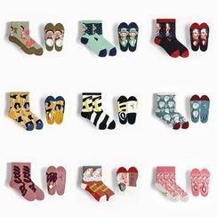 QUICKSOOX - 两双套装: 图案袜子