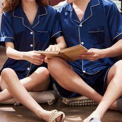 rivasong - 情侣款家居服套装: 短袖上衣 + 短裤