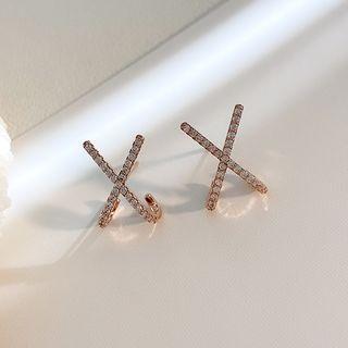 Infini - Rhinestone Alloy Cross Earring