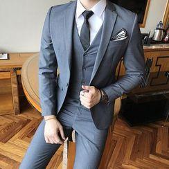 Besto - 套装: 单扣西装外套 + 马甲 + 西裤