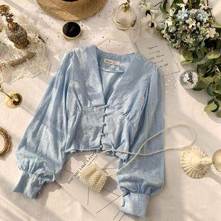 Lucuna - V領燈籠袖襯衫