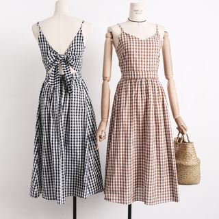 Lemongrass - Spaghetti-Strap Tie-Back Gingham Sundress