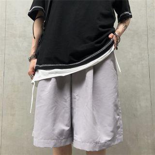 Porstina - High-Waist Plain Straight-Cut Shorts