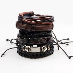 KINNO - Set of 6: Genuine Leather Wax Cord Bracelet (various designs)