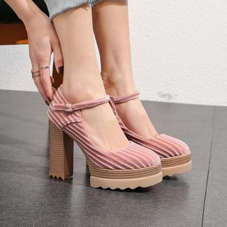 JY Shoes - Platform Chunky-Heel Ankle-Strap Pumps