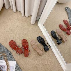 時尚麥樂 - 粗跟鉚釘踝帶涼鞋
