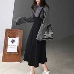 Apotheosis - 套装:长袖罗纹针织上衣 + 吊带A字连衣裙