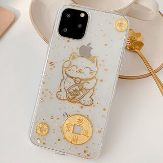 Aion - Gold Leaf Cat Print Clear Phone Case - iPhone 12 Mini / 12 / 12 Pro / 12 Pro Max / 11 / 11 Pro / 11 Pro Max / X / XS / XR / XS Max / 8 / 8 Plus / 7 / 7 Plus / 6 / 6S / 6 Plus / 6S Plus
