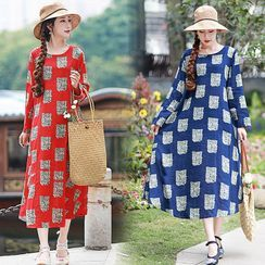 Glorieux - Printed Long-Sleeve Midi Shift Dress