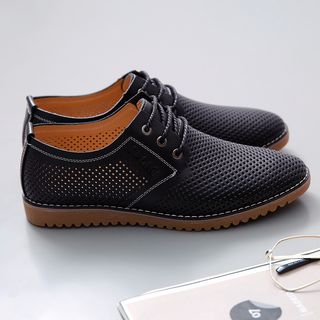 Taragan - Genuine Leather Perforated Lace-Up Shoes