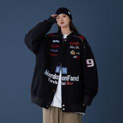 Kimeya - Letter Embroidered Bomber Jacket