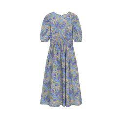 Paila - Flower Print Puff-Sleeve Midi A-Line Dress
