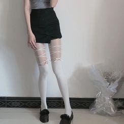 MEIA - 拼接大腿袜假高筒裤袜
