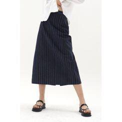 SIMPLY MOOD - Band-Waist Long Stripe Skirt