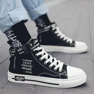 Signore - Lettering Lace Up High Top Sneakers