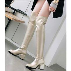 Freesia - Patent Block Heel Over-the-knee Boots