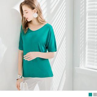 OrangeBear - Comfy Fit V-Neck Basic Top