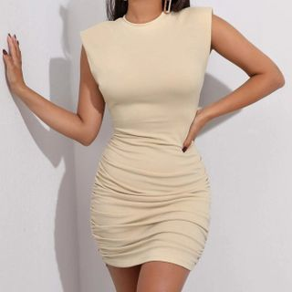 Leandrillo - 墊肩無袖迷你塑身連衣裙
