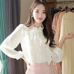 MyFiona - Tie-Neck Laced Frill-Trim Blouse