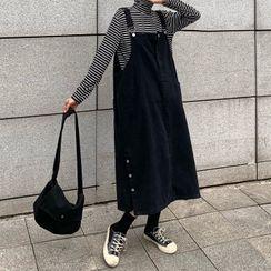 Moon City - Denim Midi Pinafore Dress